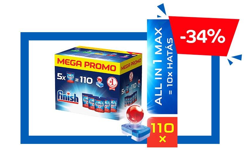 Finish All in 1 Max Megabox mosogatógép tabletta, 110 db